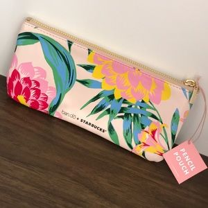 Starbucks Ban.do flower pencil pouch with gold